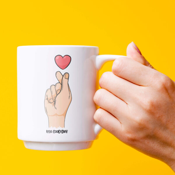 Issa Good Day - Little Heart on Hand Mug with Design Lettering