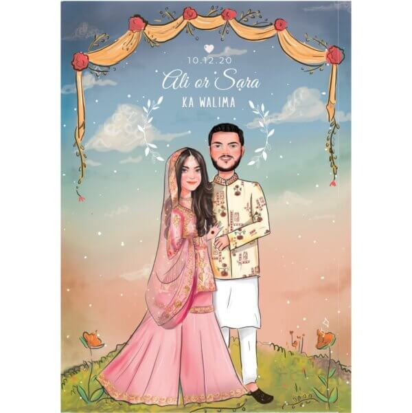Custom illustration Wedding Card with Couple Cartoonist Photo